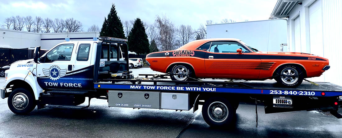 Tow CCA Elysian brewing Superfuzz 1972 Dodge Challenger tow Puyallup Seattle